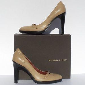 Beige Tan Leather Mary Jane Platform Heels 40